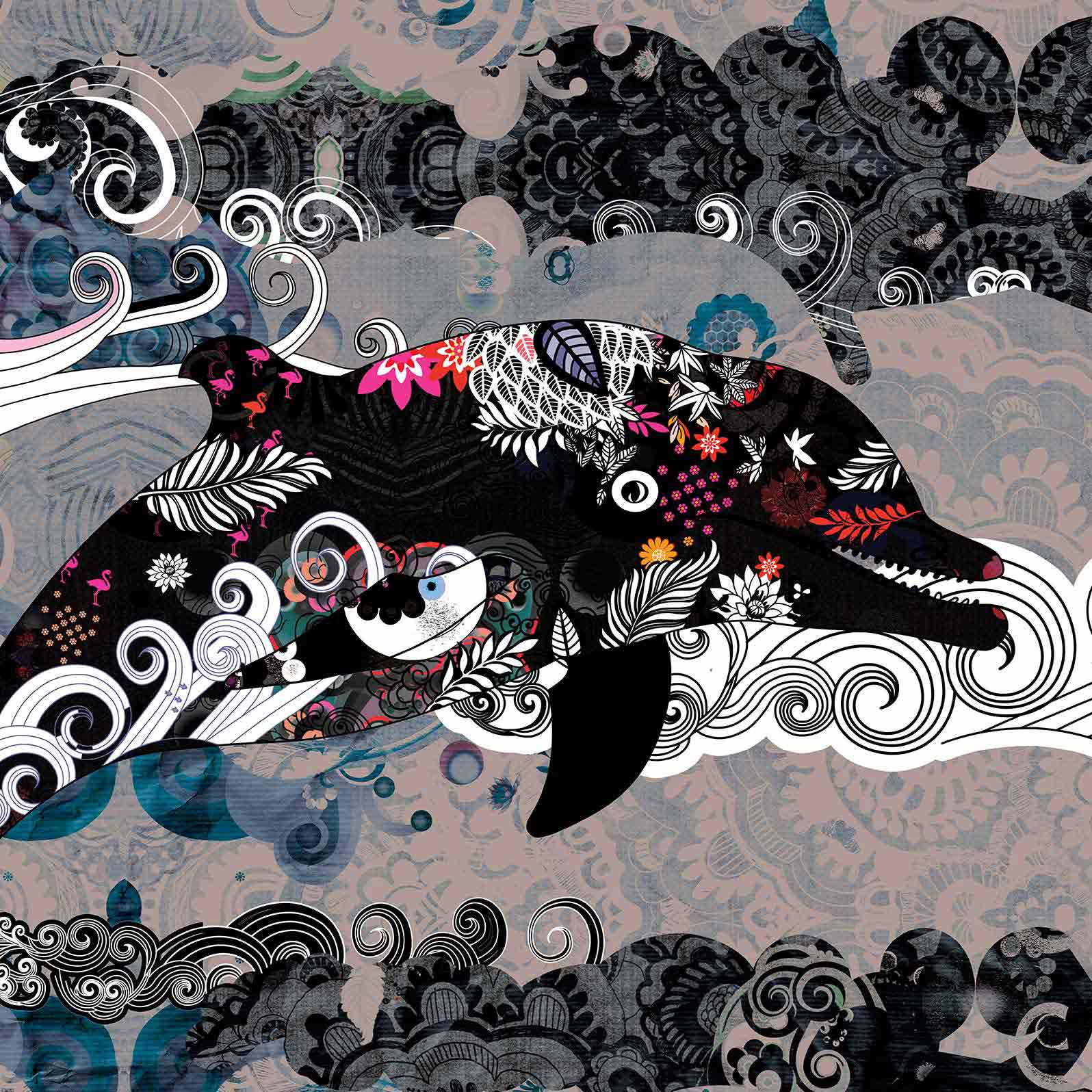Anca Stefanescu | Flying Dolphin Digital Art, Limited Edition Print On Canvas