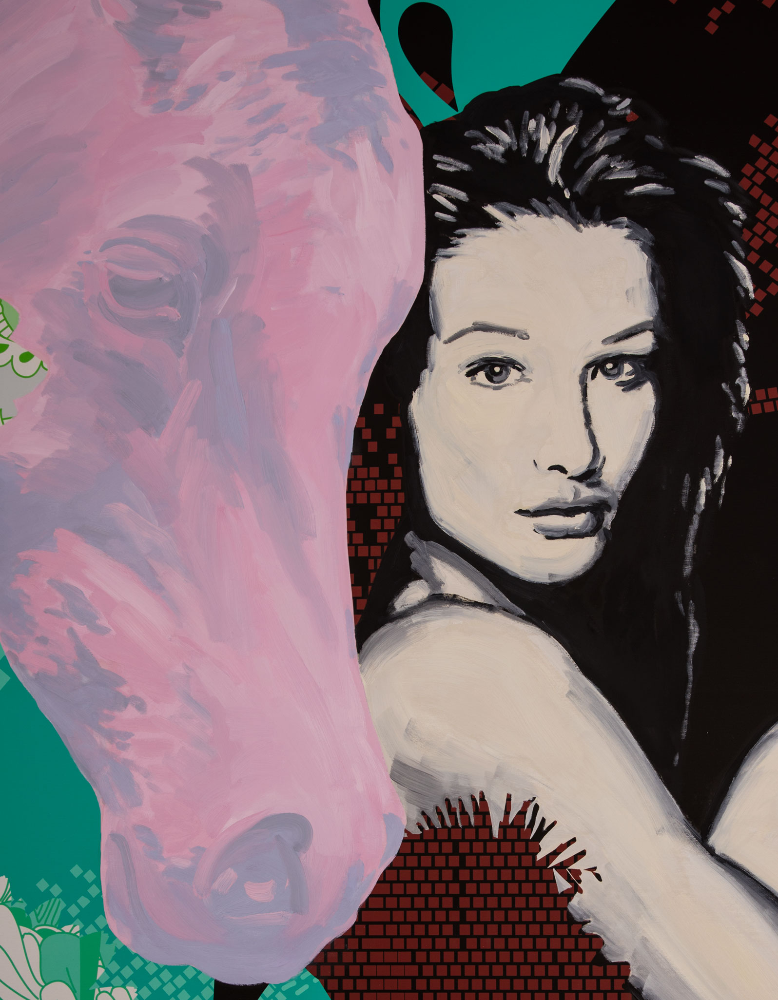 Anca Stefanescu | Oil and Print on Canvas | Portrait of Two Gorgeous Women